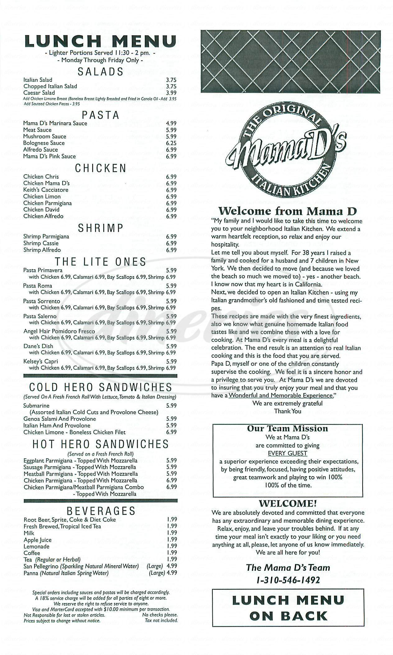 menu for Mama D's Italian Kitchen