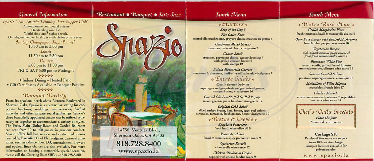 menu for Spazio Restaurant