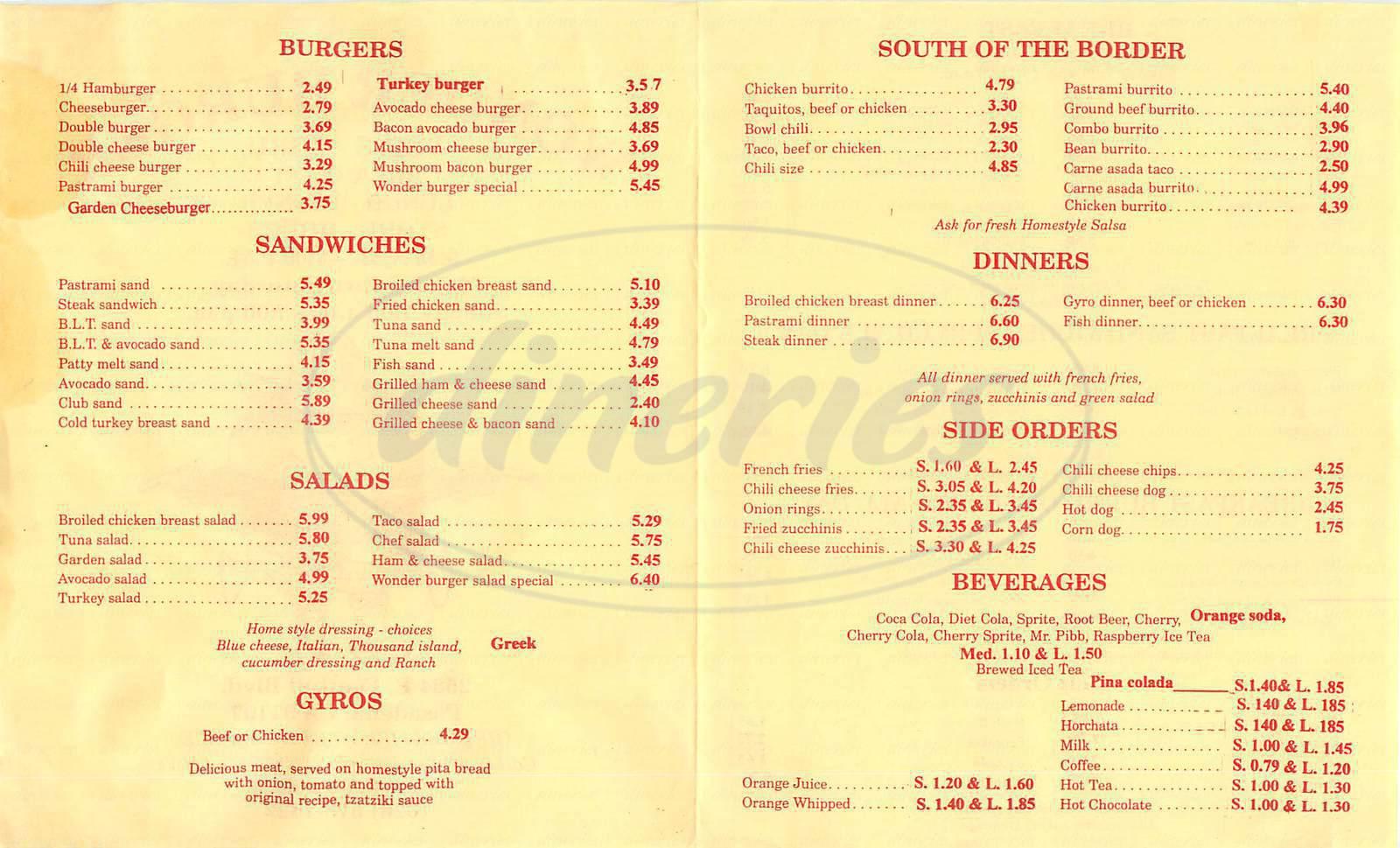menu for Wonder Burger
