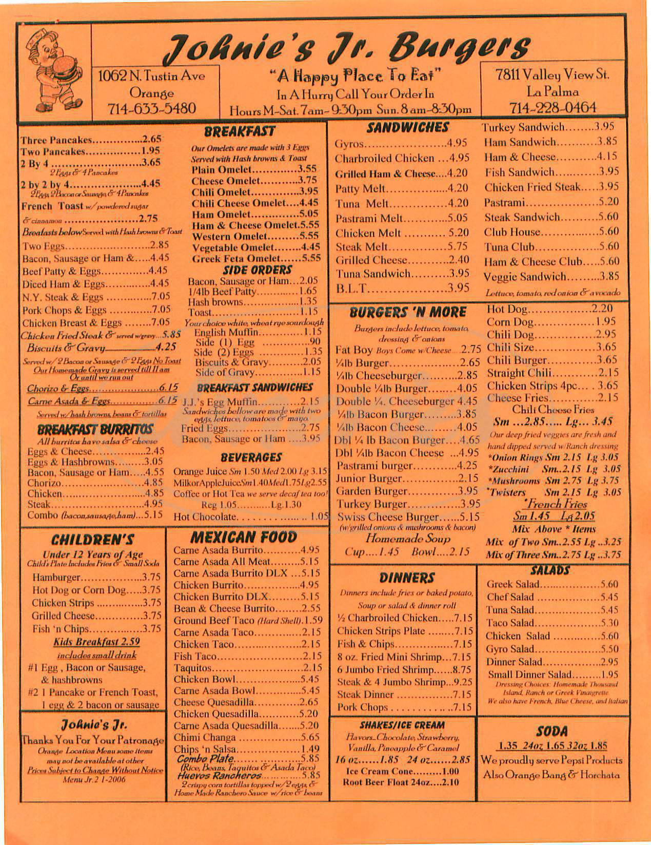 menu for Johnnie's Jr Burgers