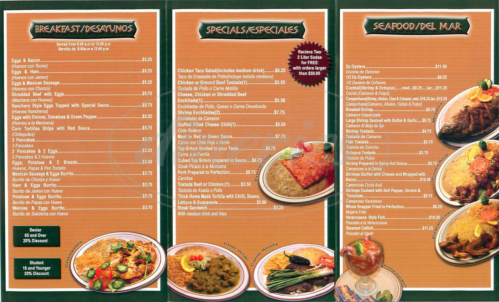 menu for Taco Azteca