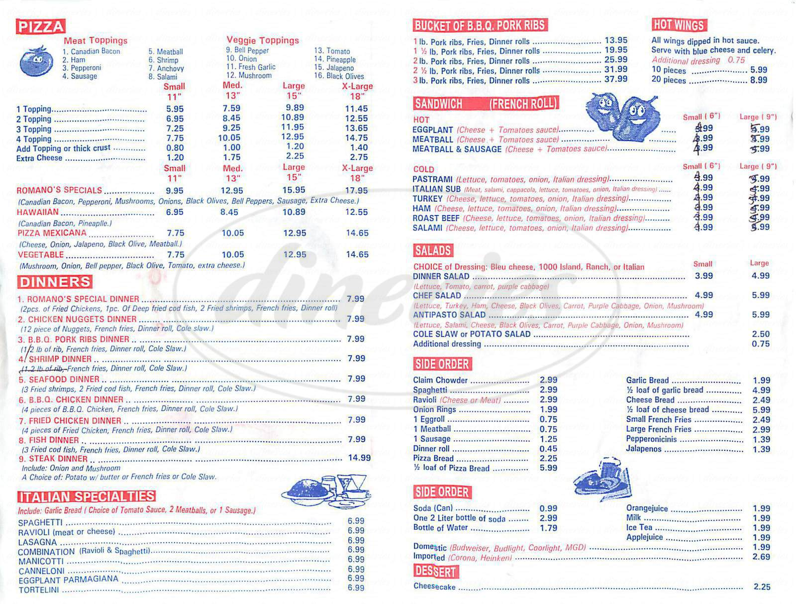 menu for Romanos Pizza