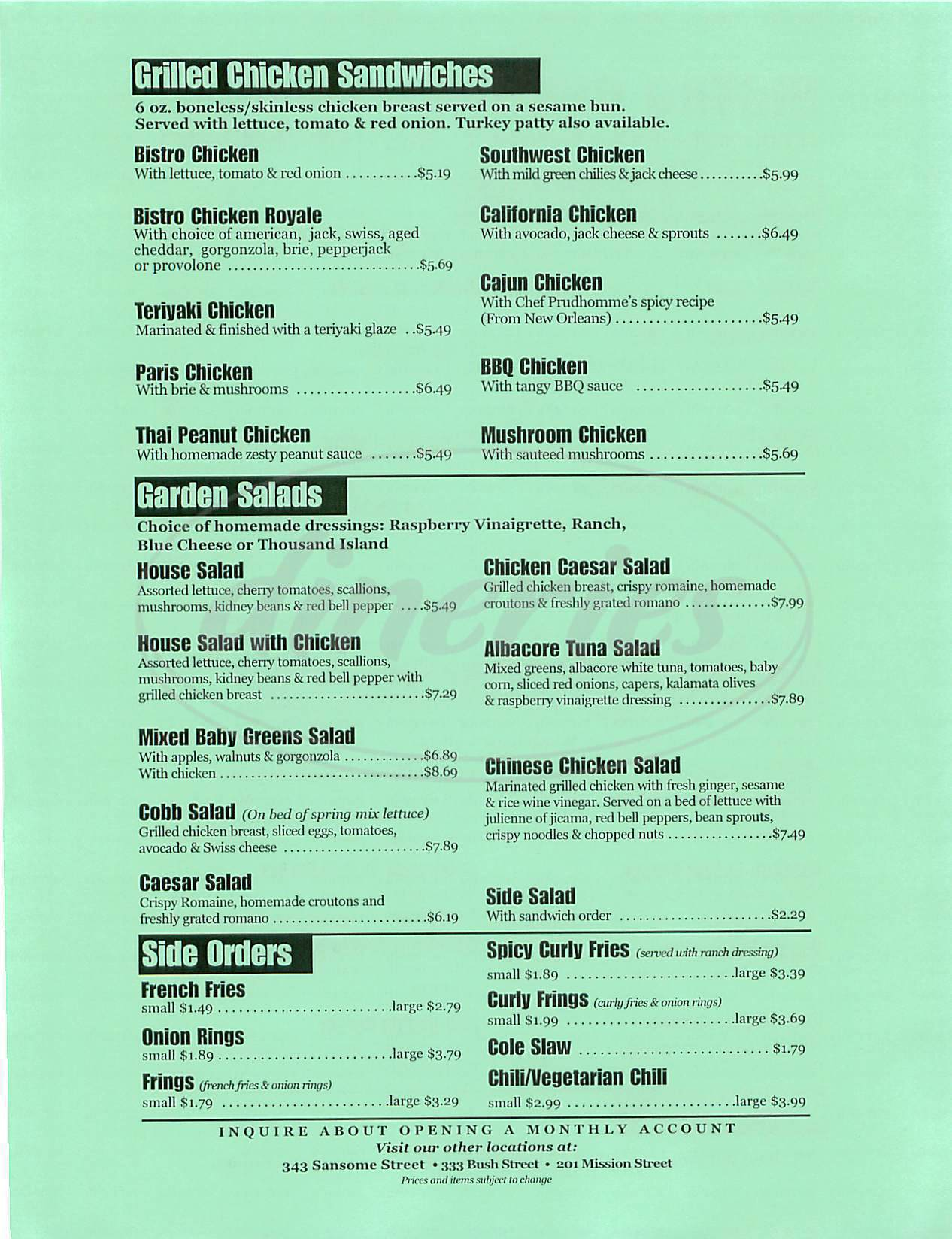menu for Bistro Burger V
