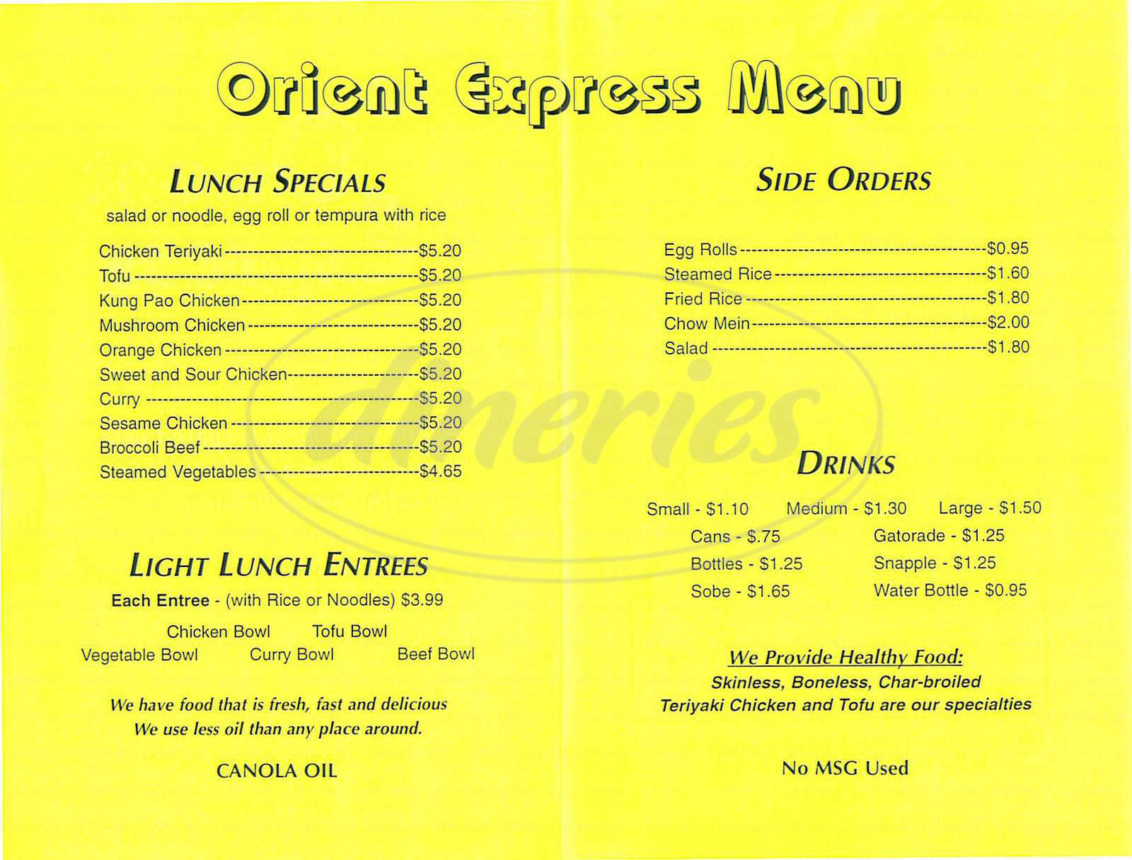 menu for Orient Express