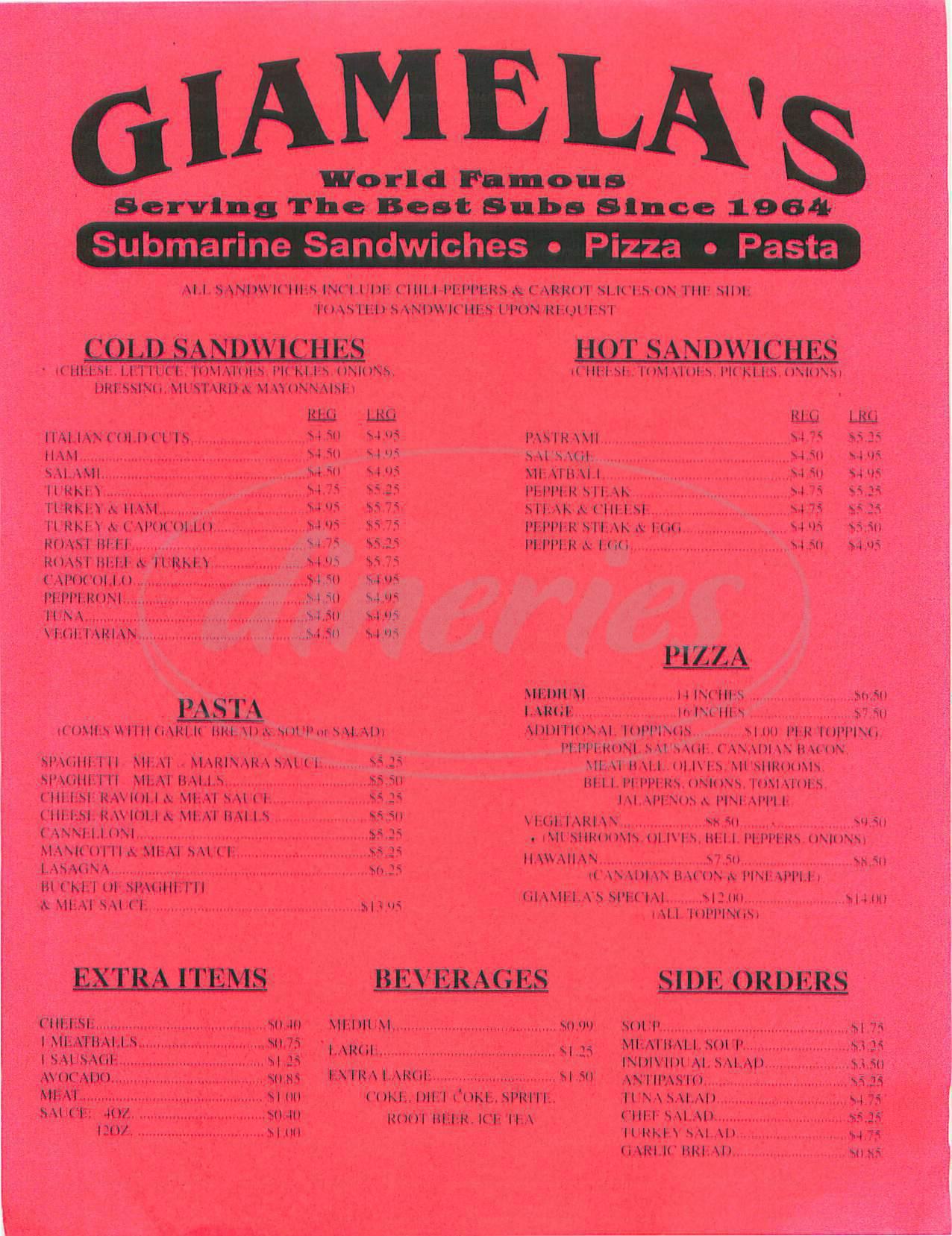 menu for Giamela's