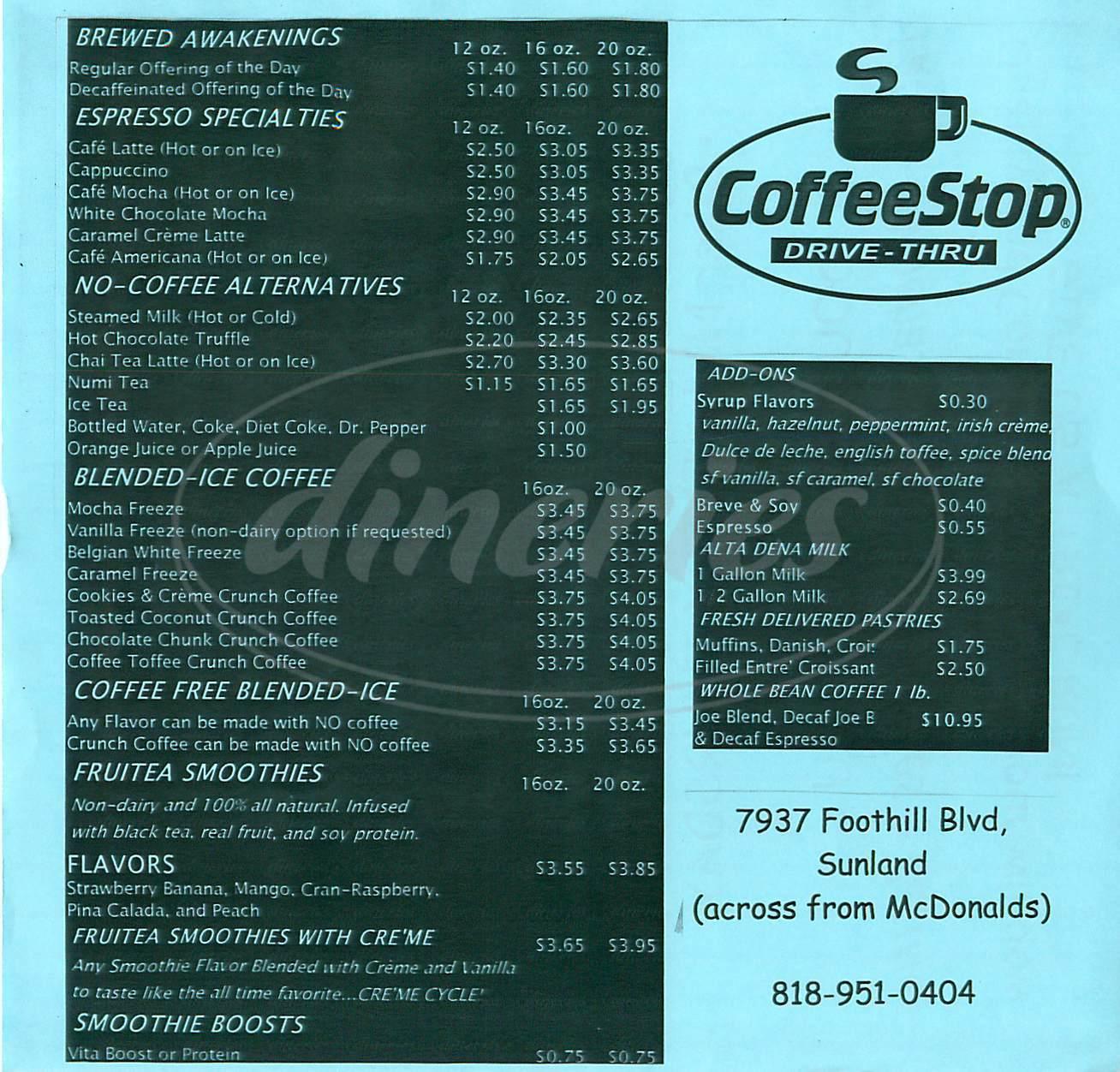menu for Coffee Stop Drive Thru