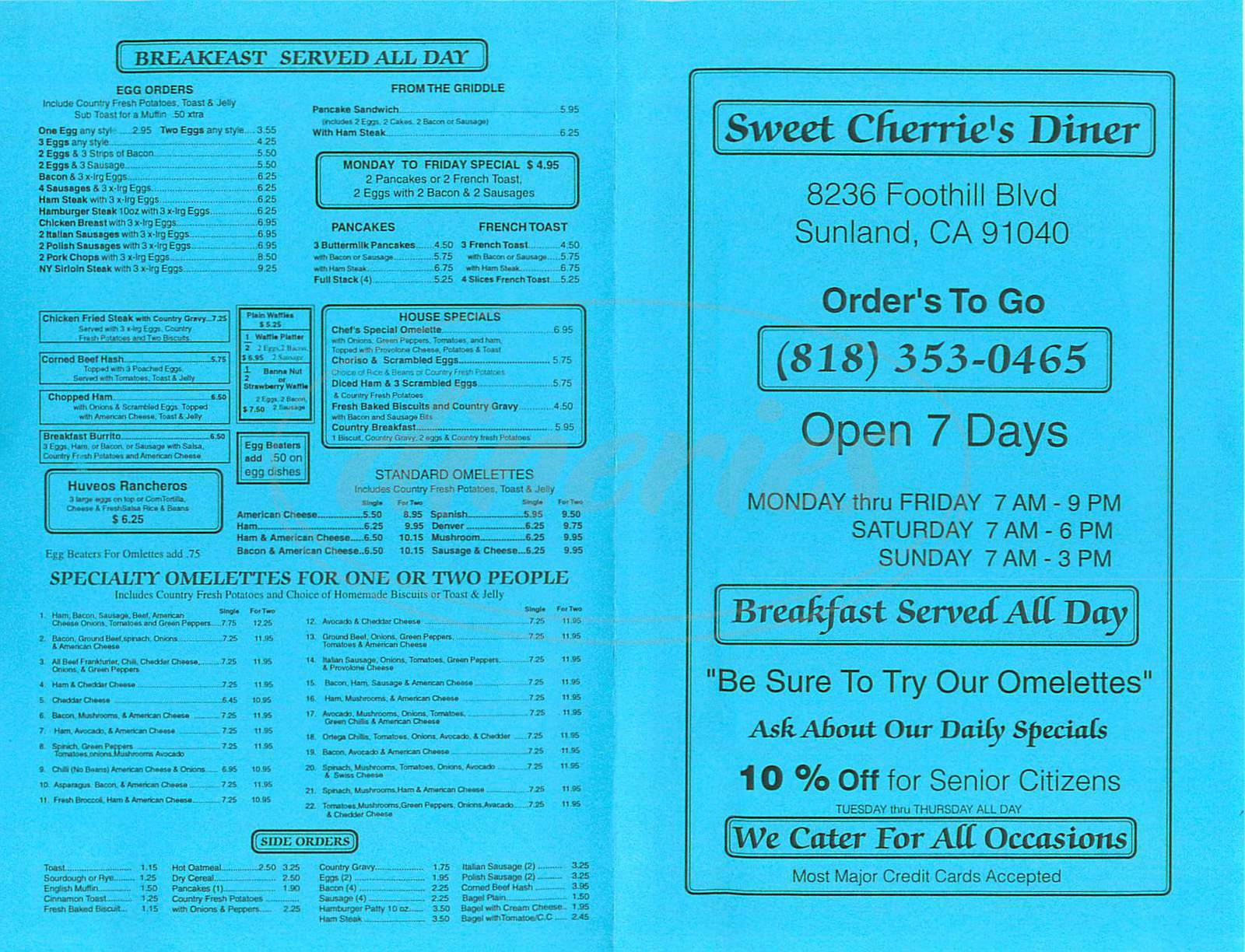 menu for Sweet Cherries Diner