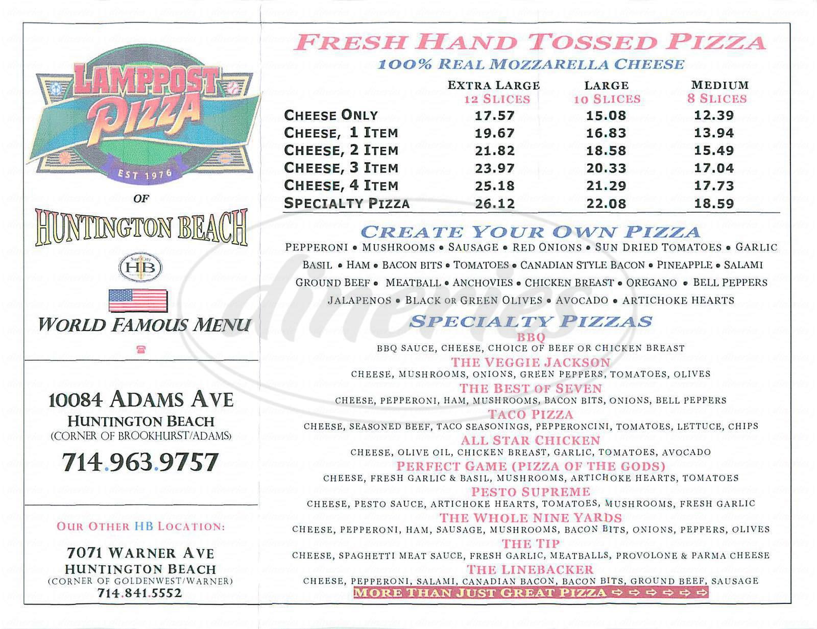 menu for Lamppost Pizza