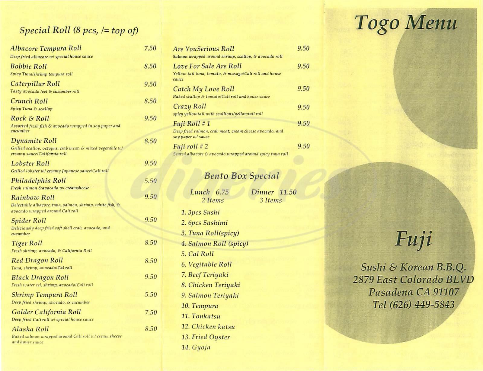 menu for Fuji Japanese Restaurant