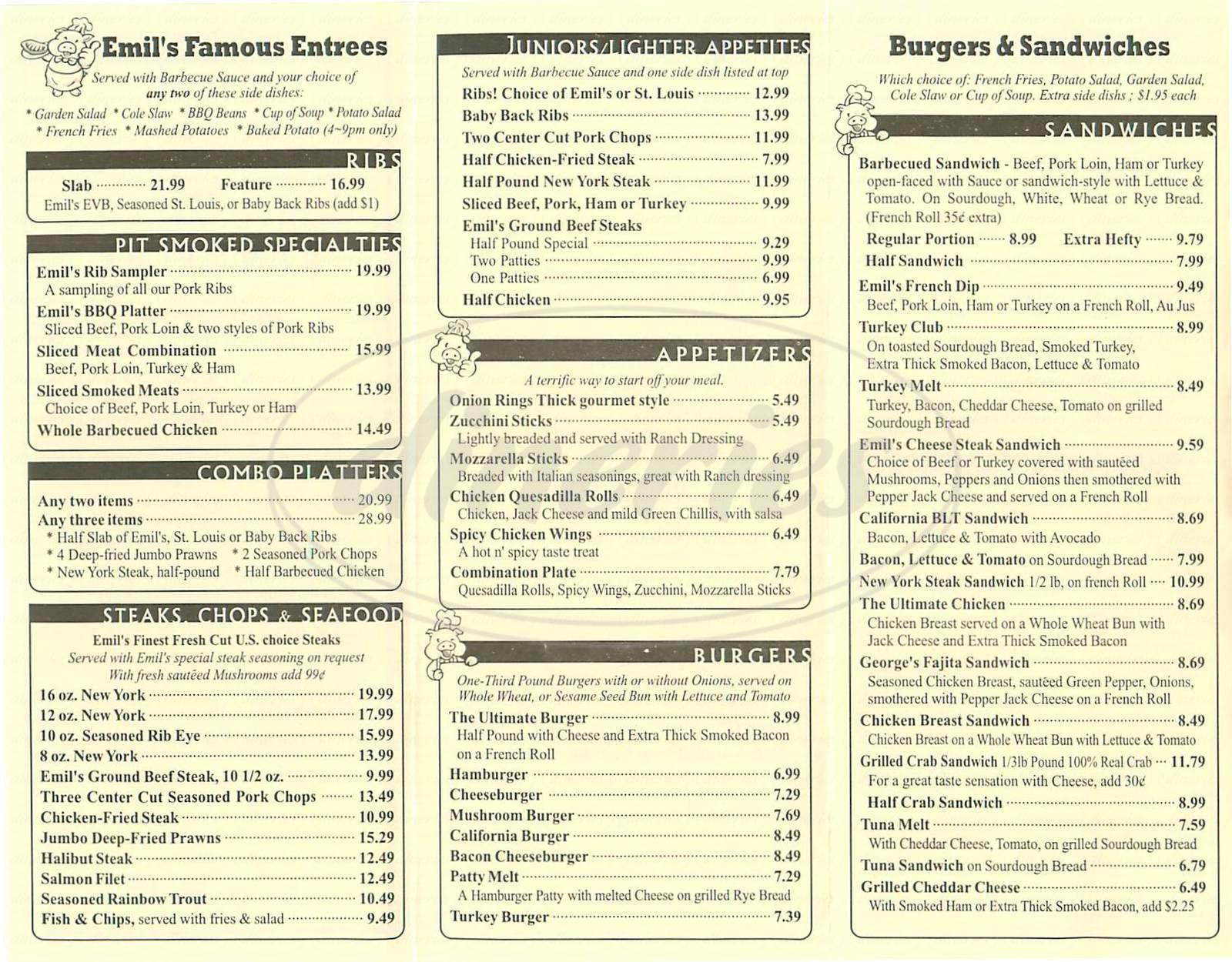 menu for Emil Villas Barbacue