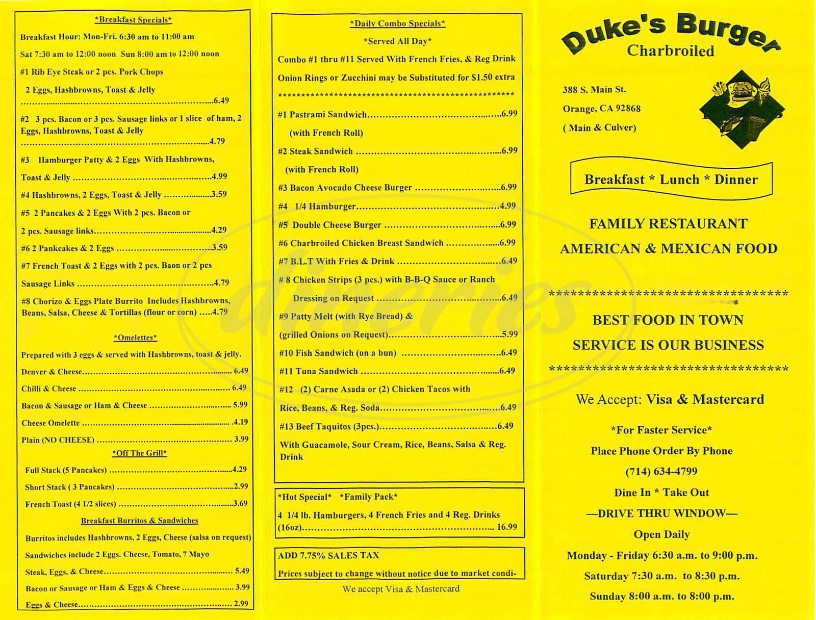 menu for Duke's Burger Charbroiled