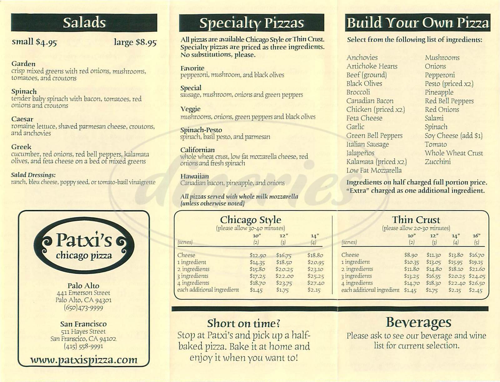 menu for Patxi's Chicago Pizza
