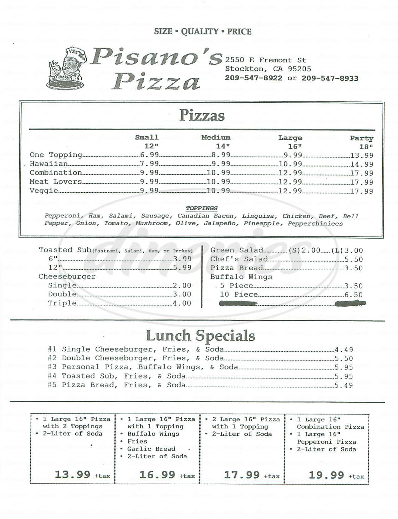 menu for Pisanos Pizza