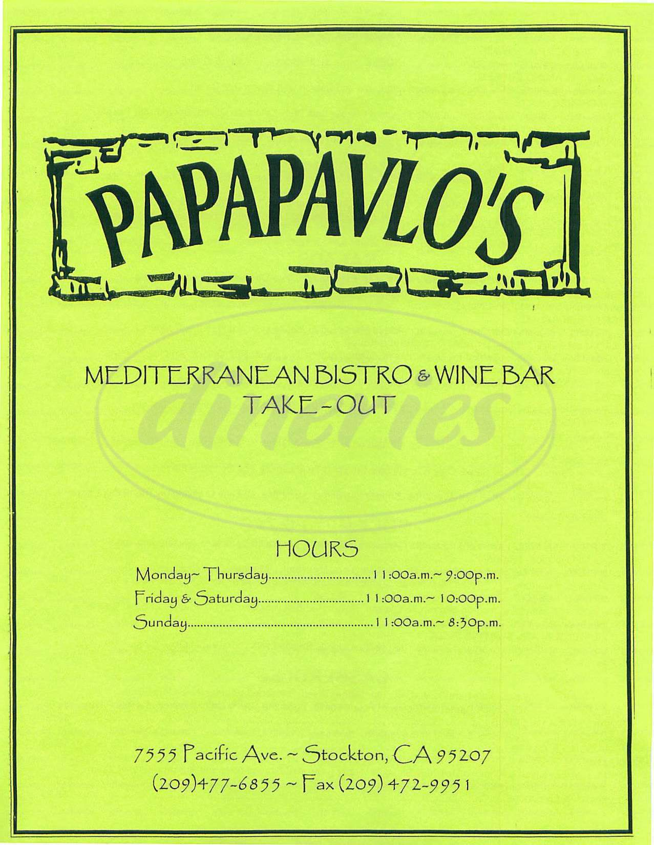 menu for Papapavlos Mediterranean Bistro