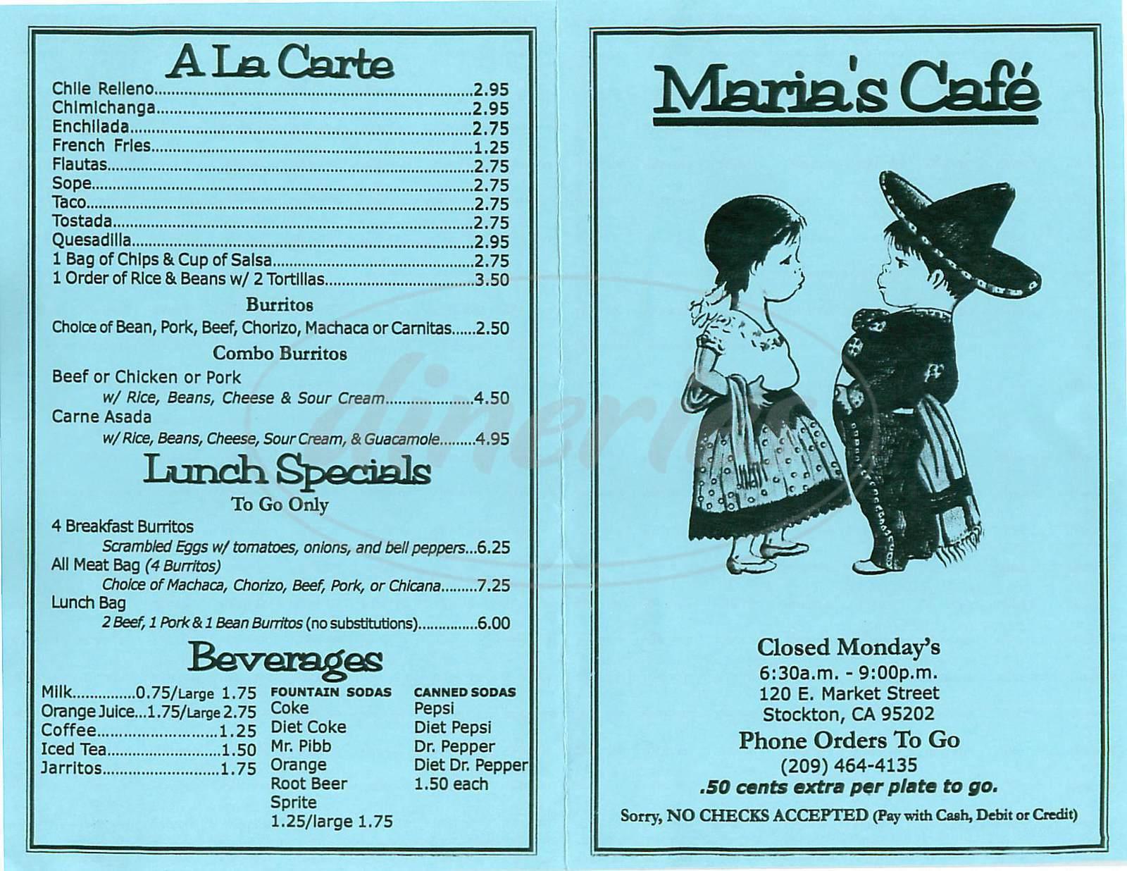 menu for Marias Café