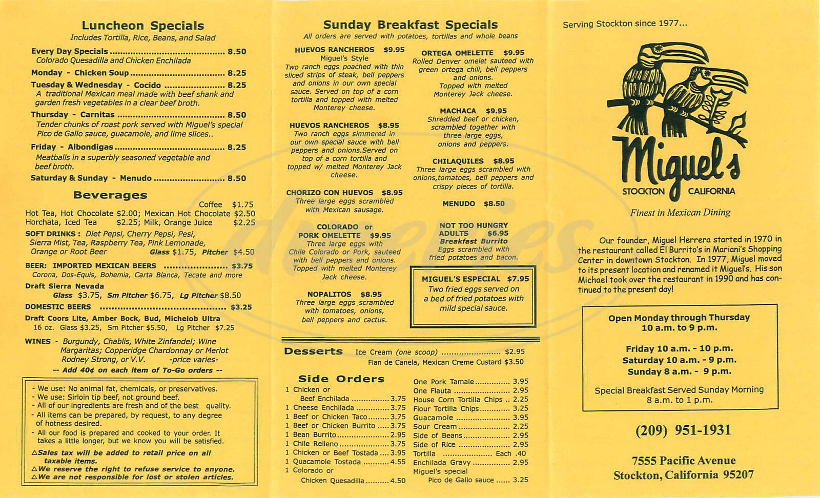 menu for Miguel's Mexican Restaurant