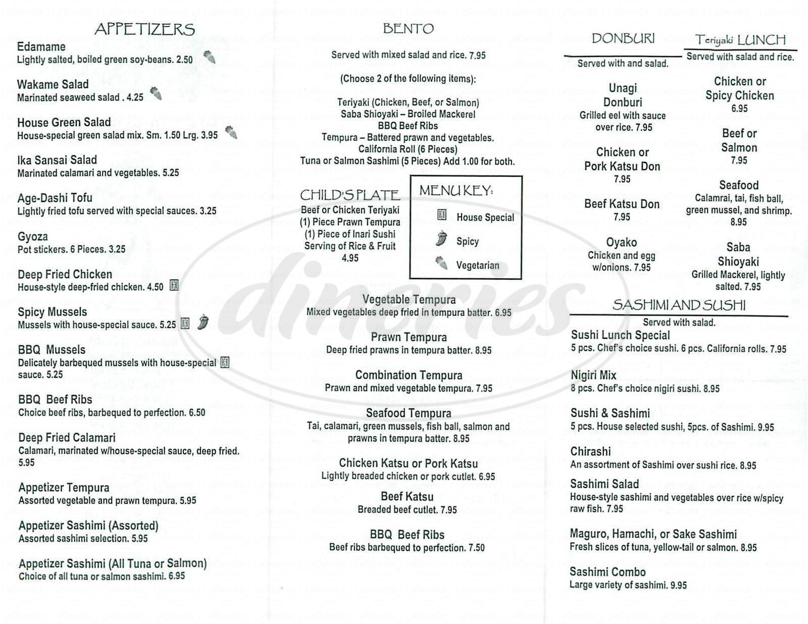 menu for Shogun