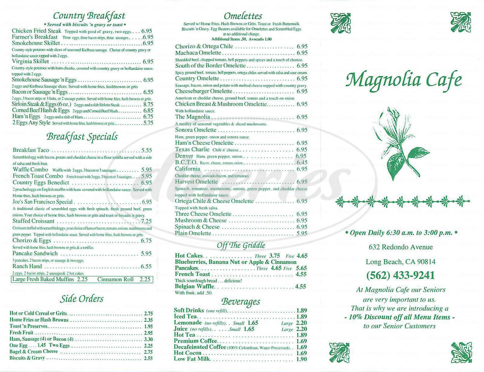 menu for Magnolia Café