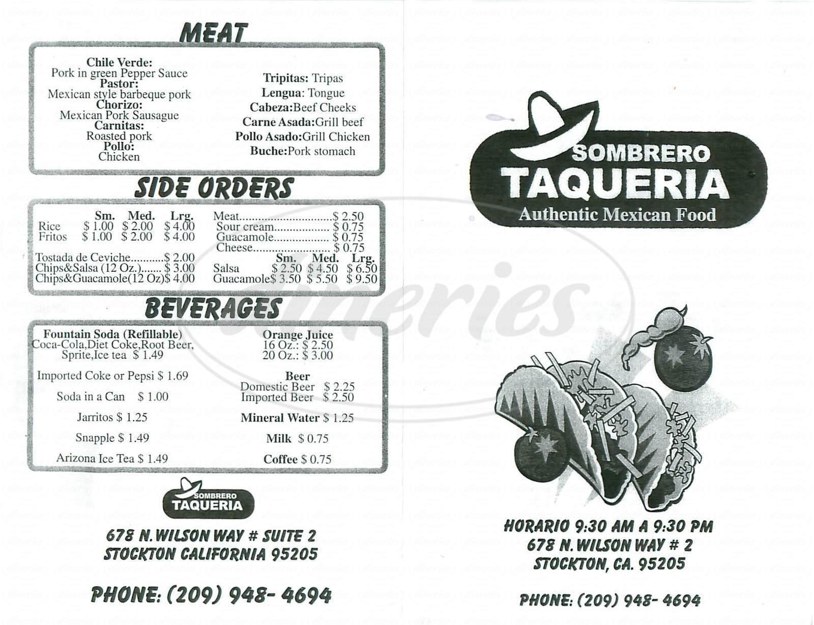 menu for Sombrero Taqueria