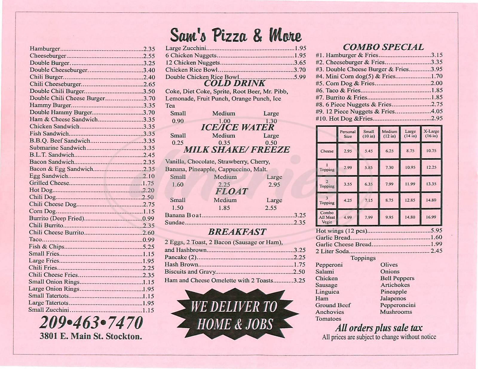 menu for Sams Pizza & More