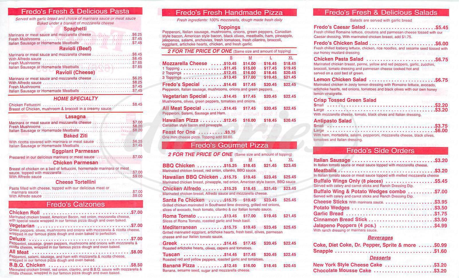 menu for Fredo's