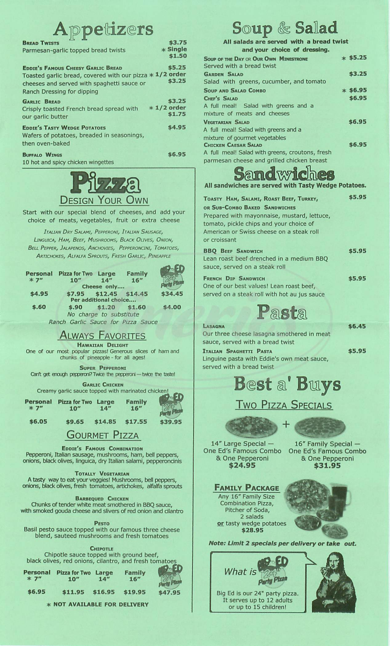 menu for Eddies Pizza Café