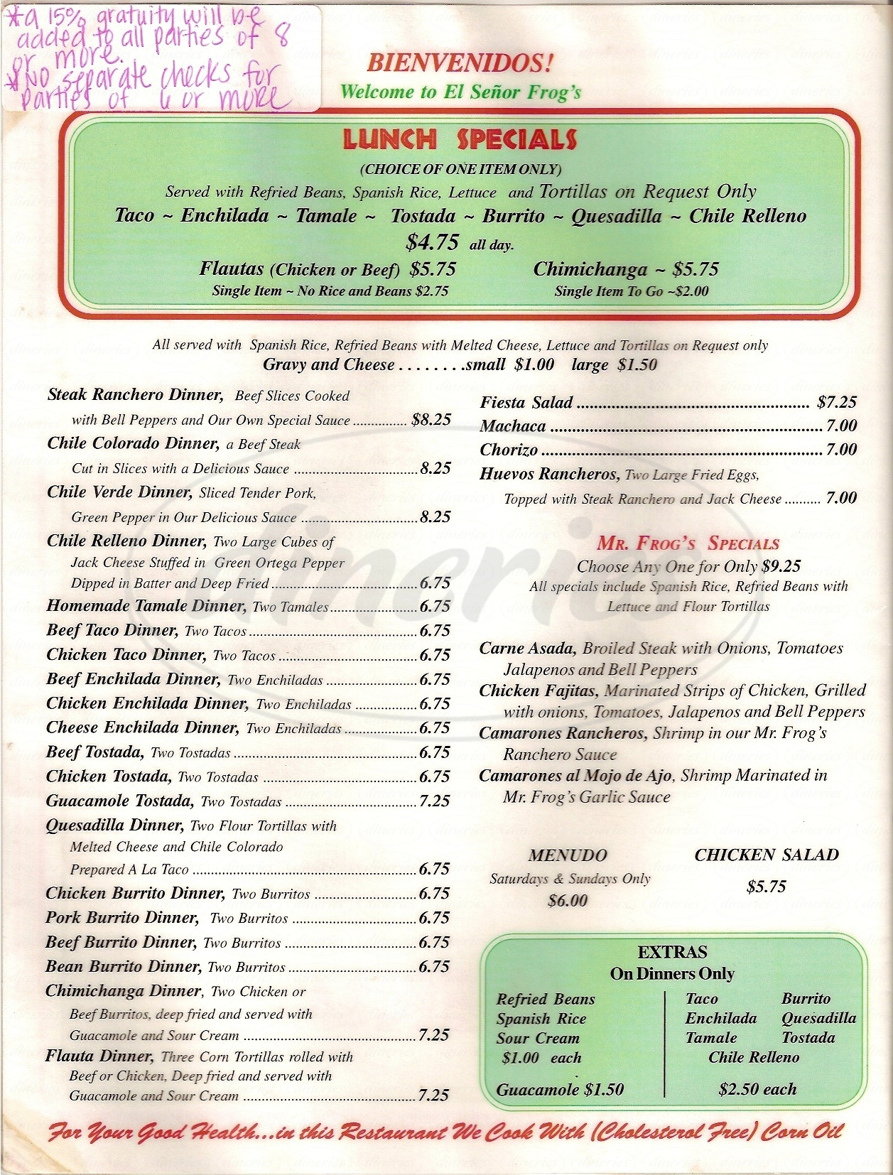 menu for El Senor Frogs