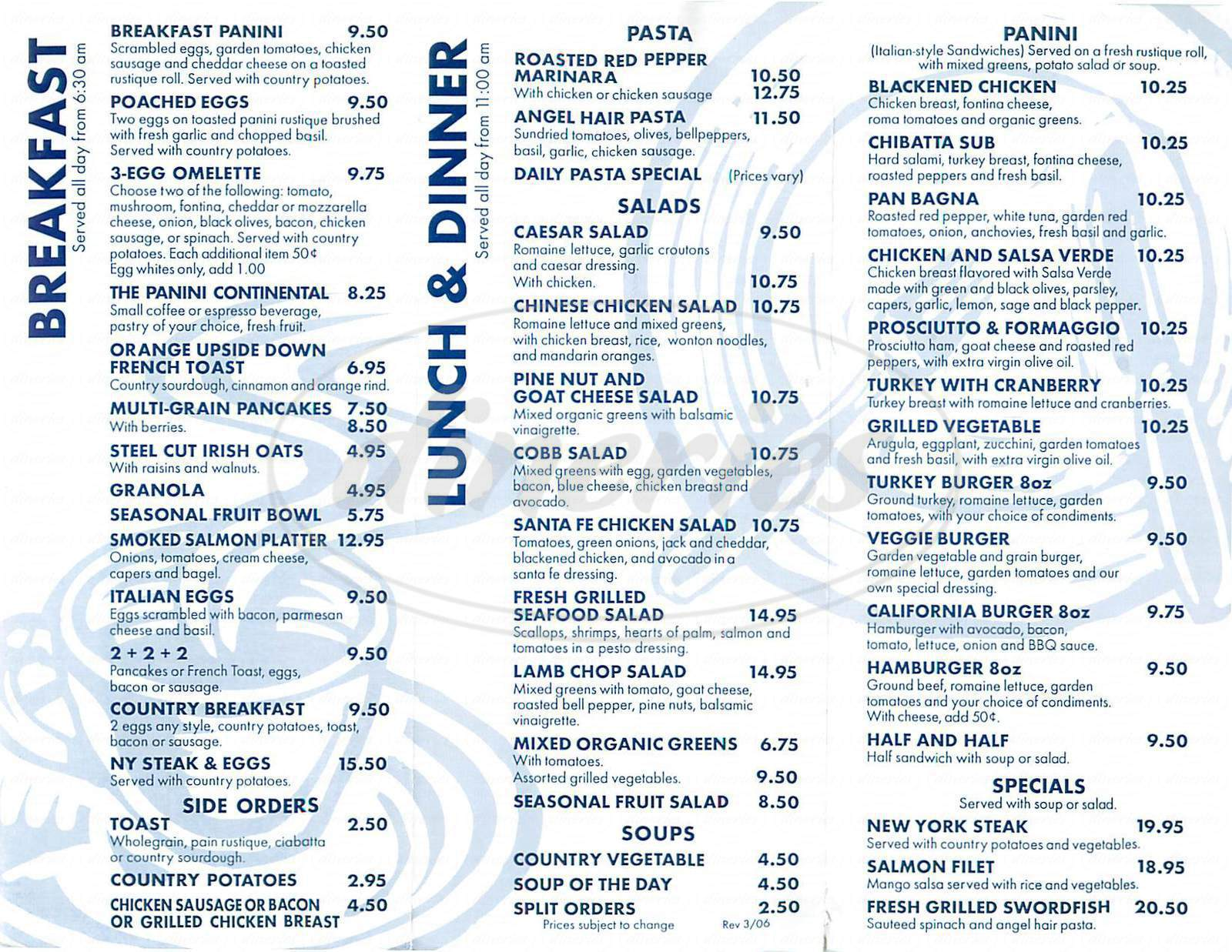 menu for Panini Cafe
