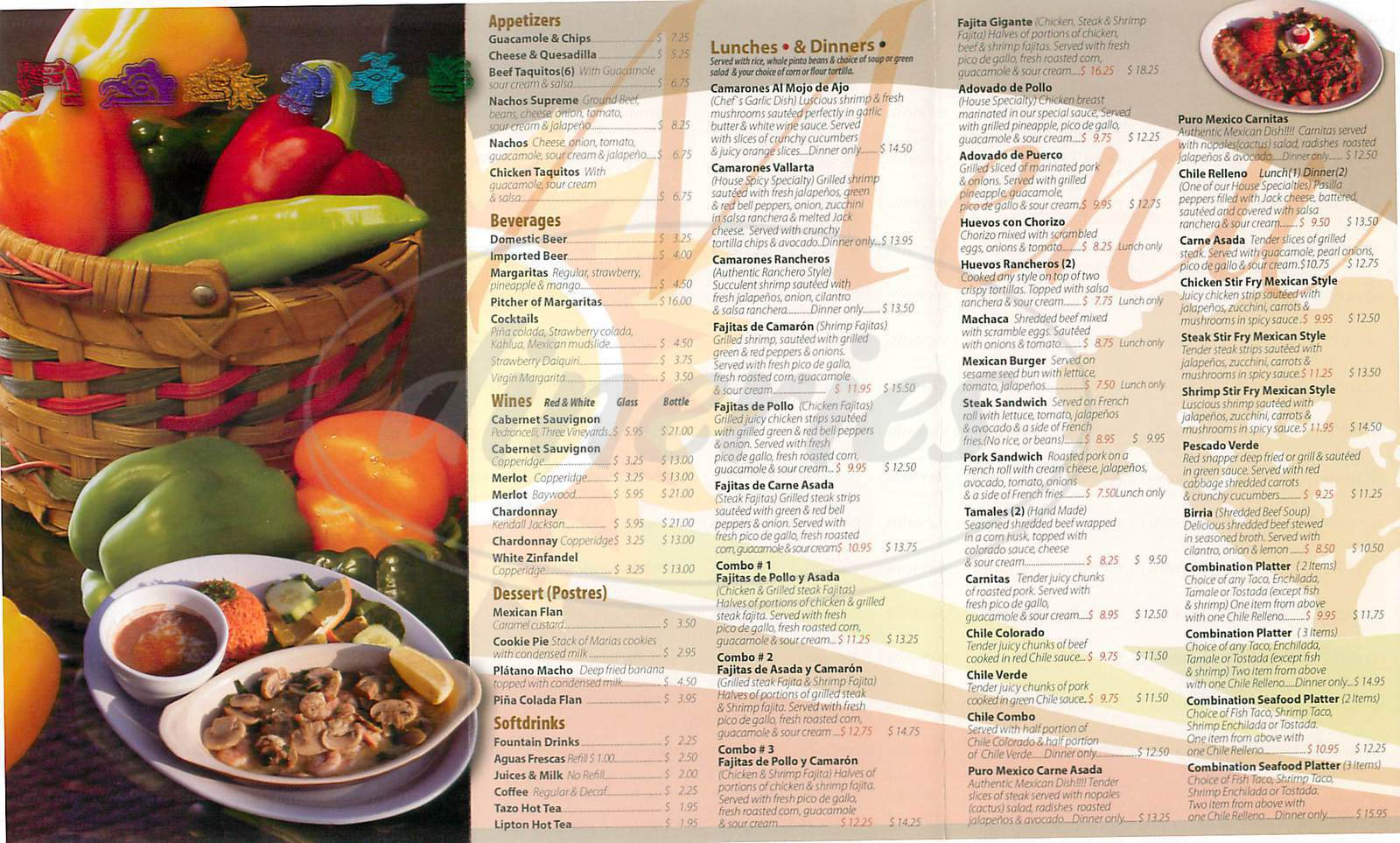 menu for La Colina de Oro