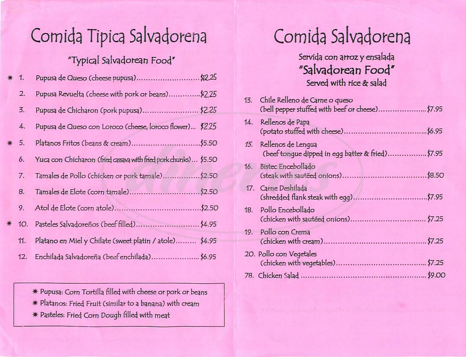 menu for Lauritas Grill
