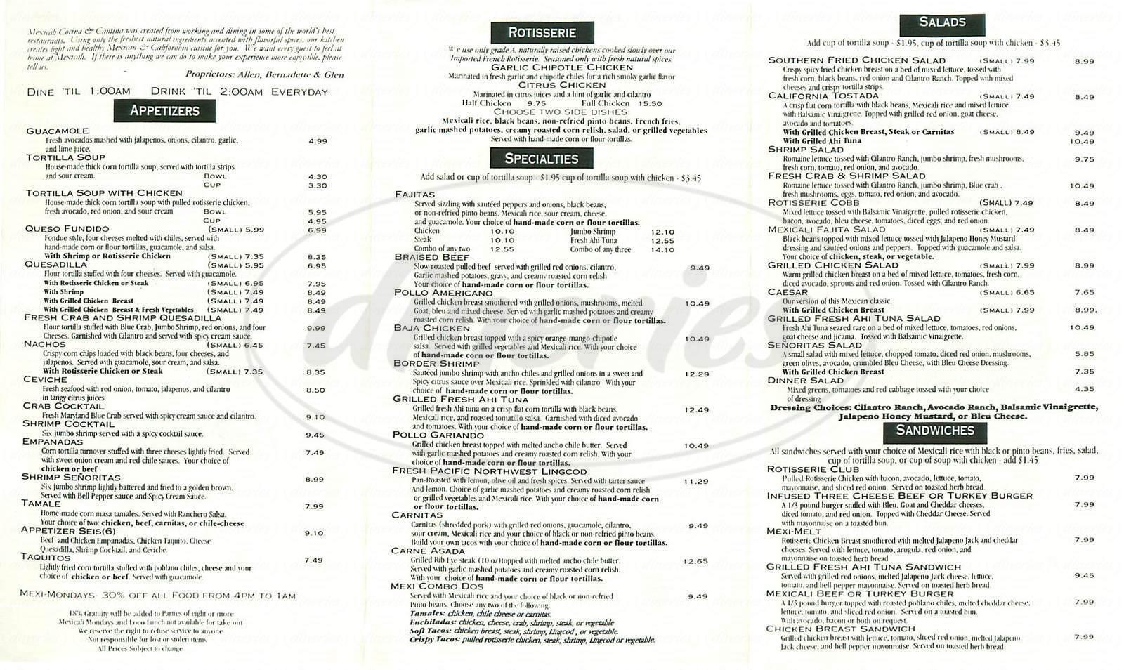menu for Mexicali Cocina Cantina