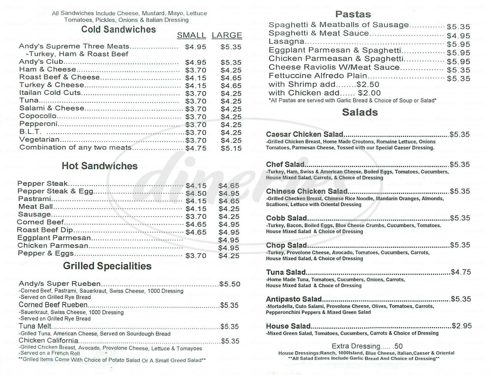 menu for Andys Submarine Sandwiches