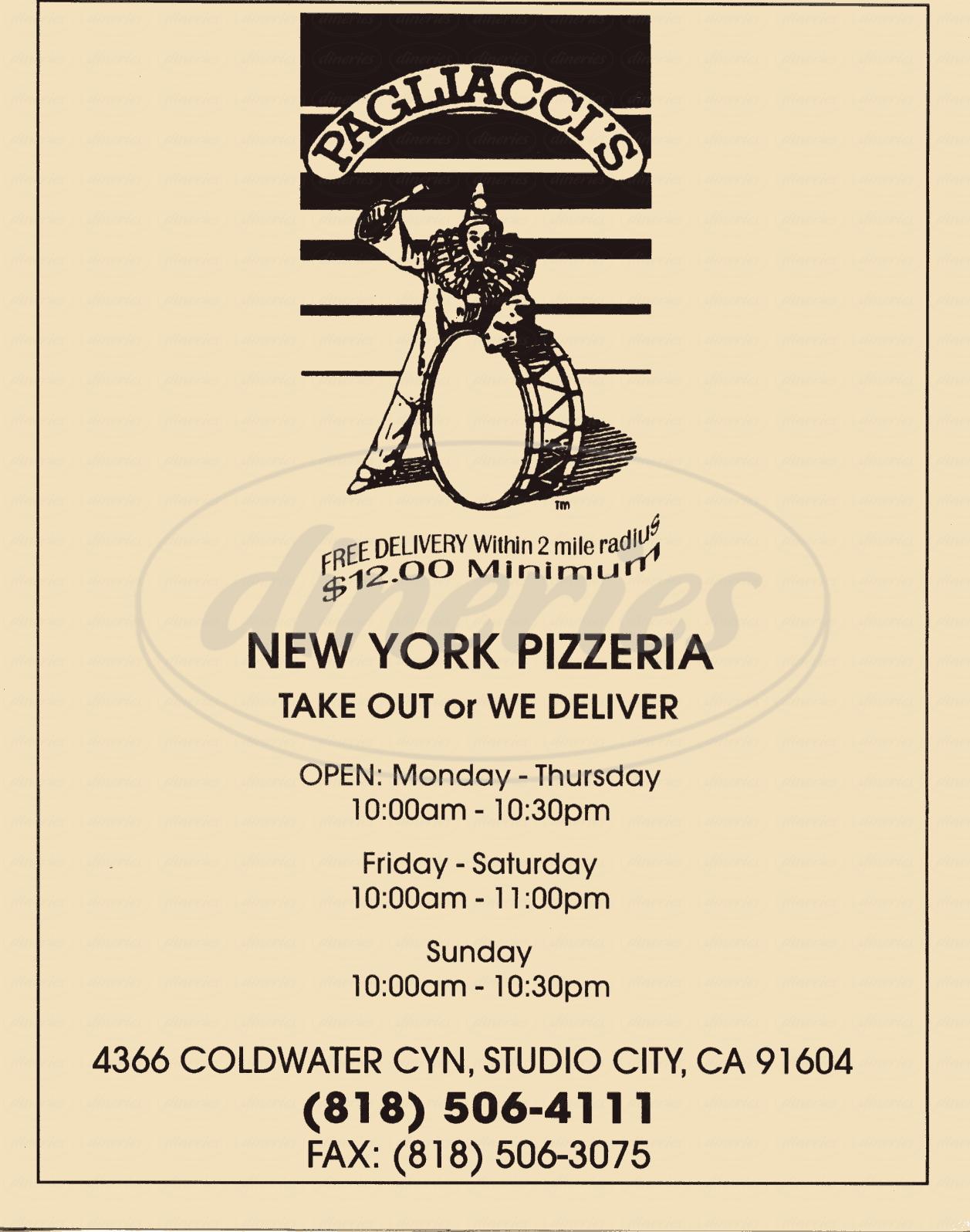 Big menu for Pagliacci's, Studio City