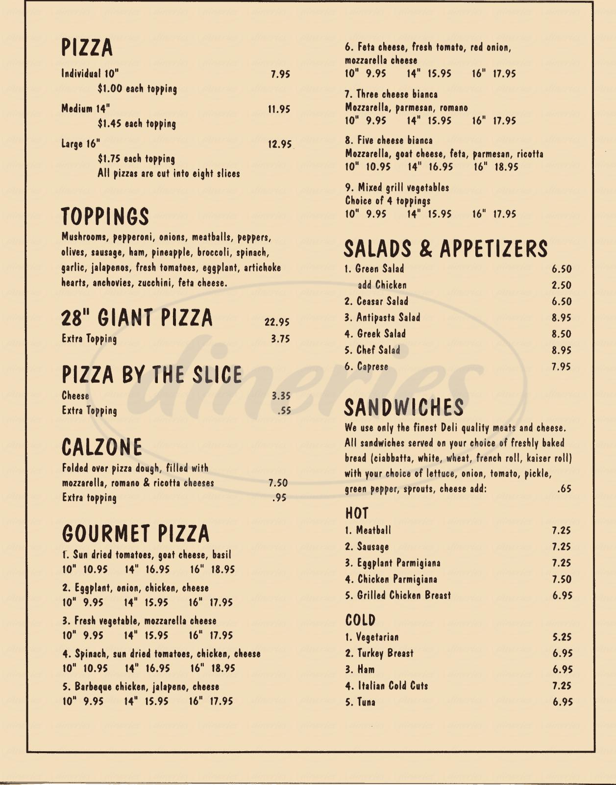 menu for Pagliacci's