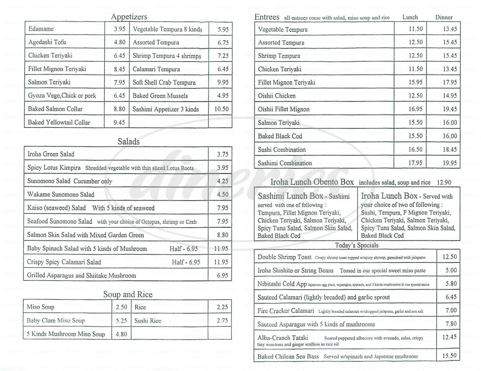 menu for Iroha Sushi