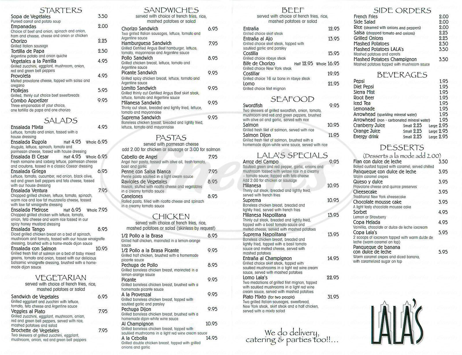 menu for Lala's Argentine Grill