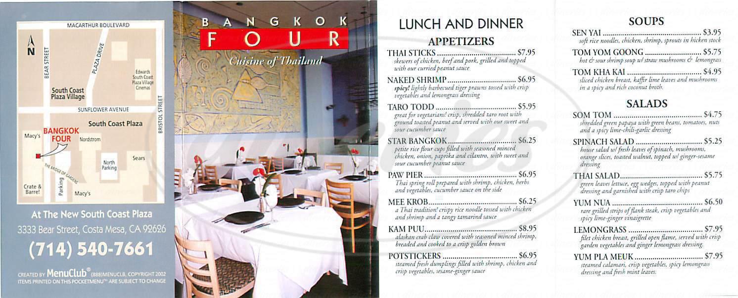 menu for Bankok Four