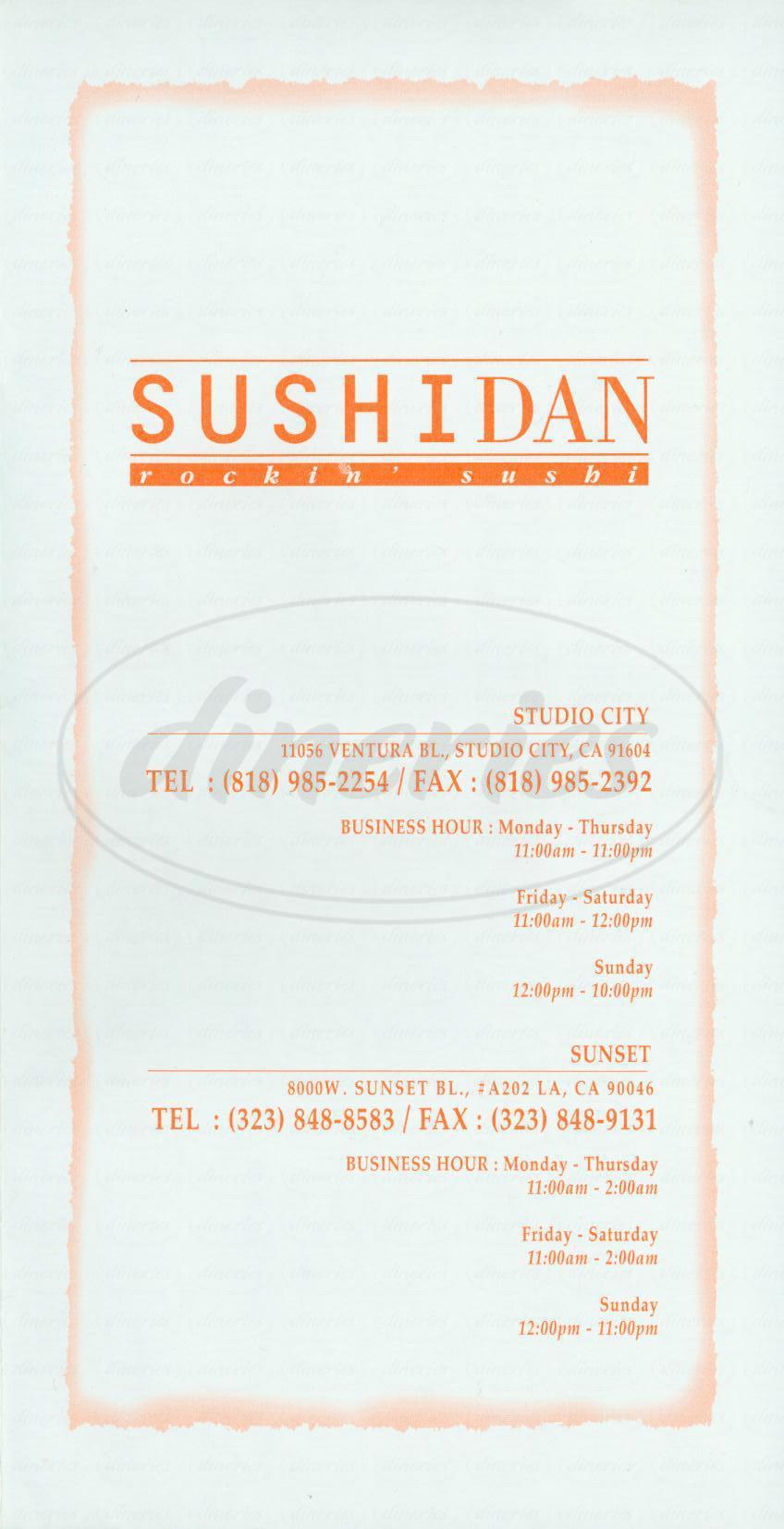 menu for Sushi Dan