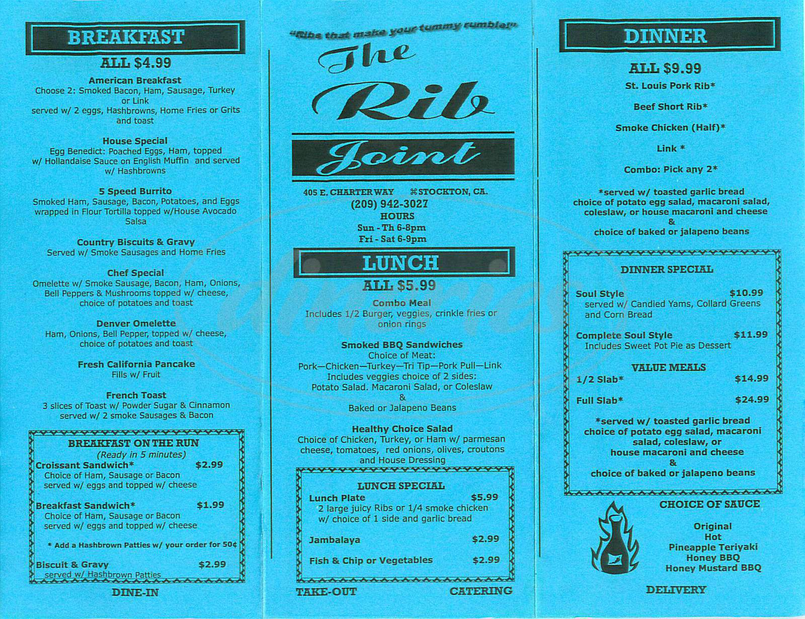 menu for The Rib House
