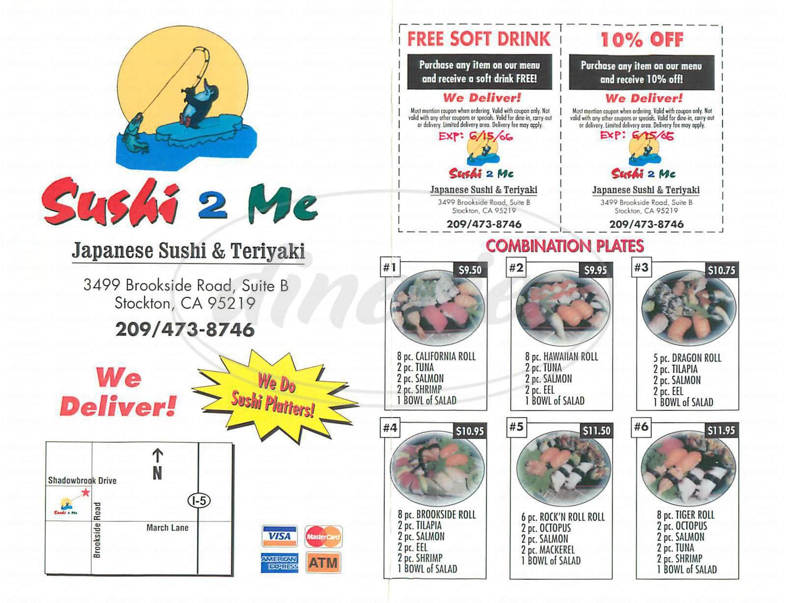 menu for Sushi 2 Me
