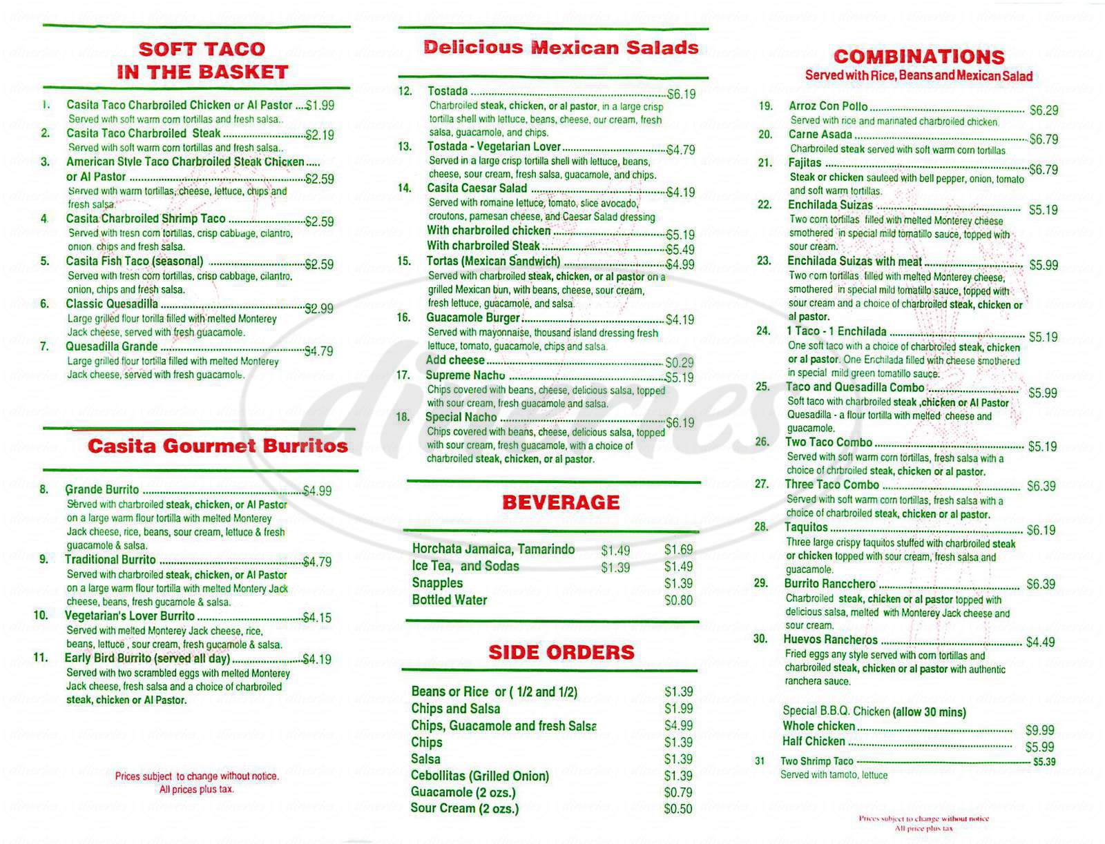 menu for Casita Taco Mexican Grill