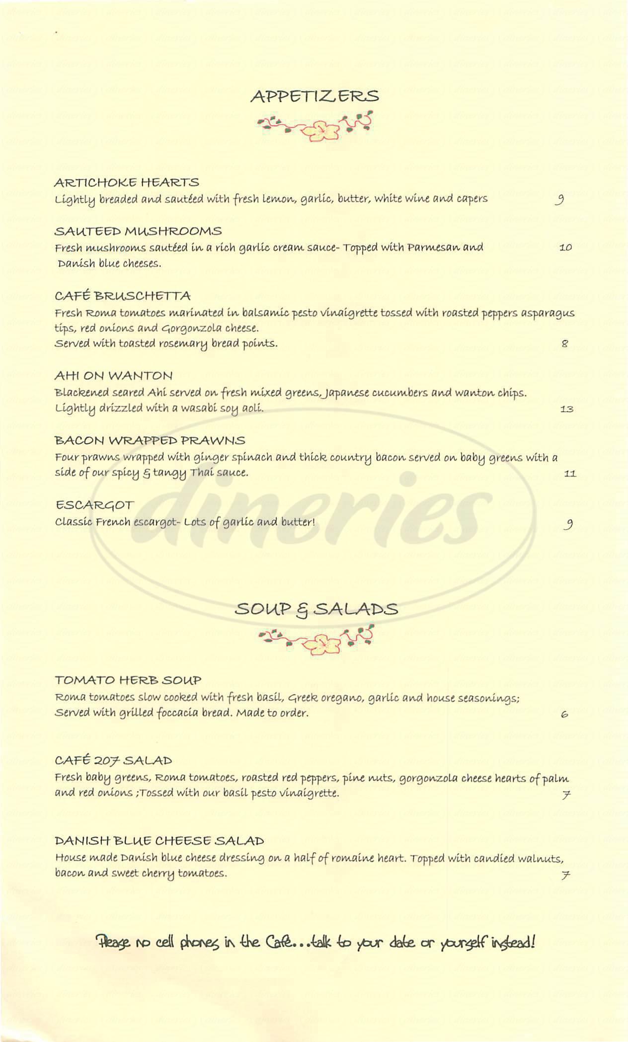 menu for Café 207