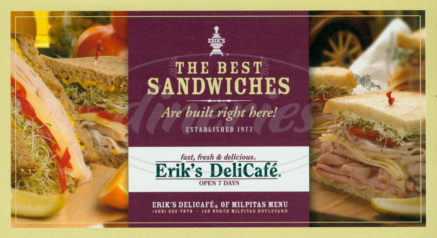 menu for Eriks DeliCafé
