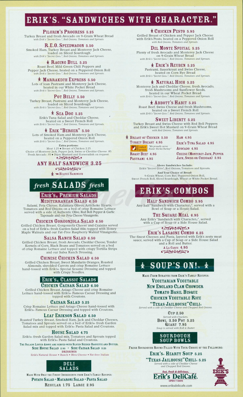 menu for Eriks DeliCafé