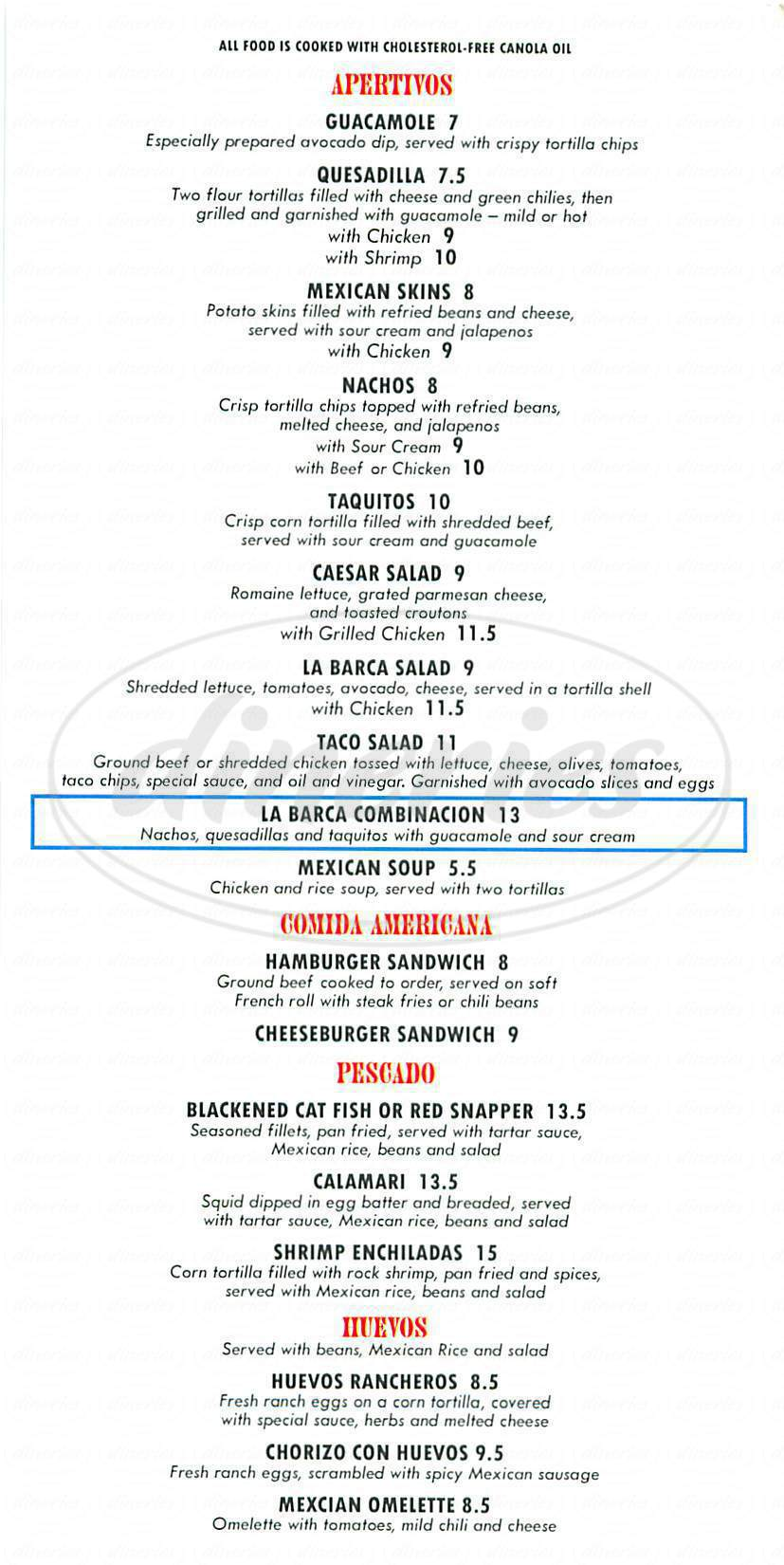 menu for La Barca