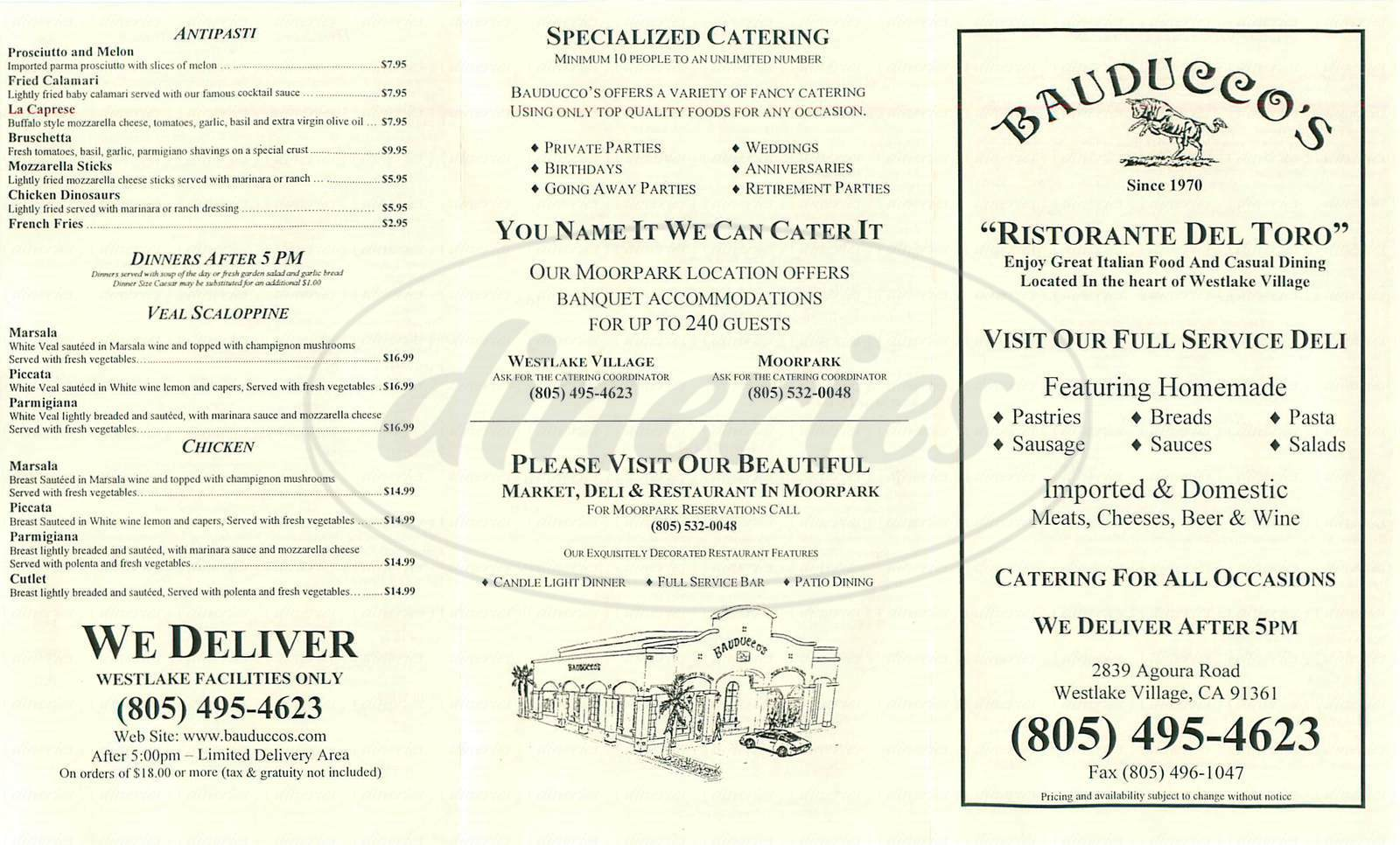 menu for Bauducco's