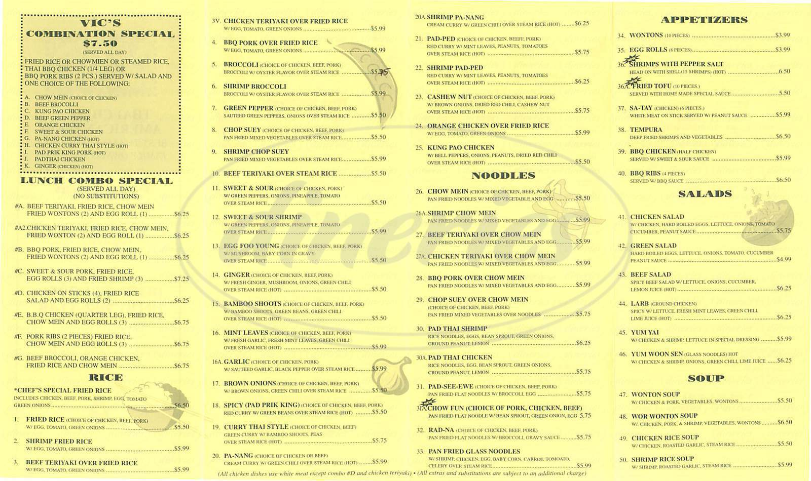menu for Vics Food to Go