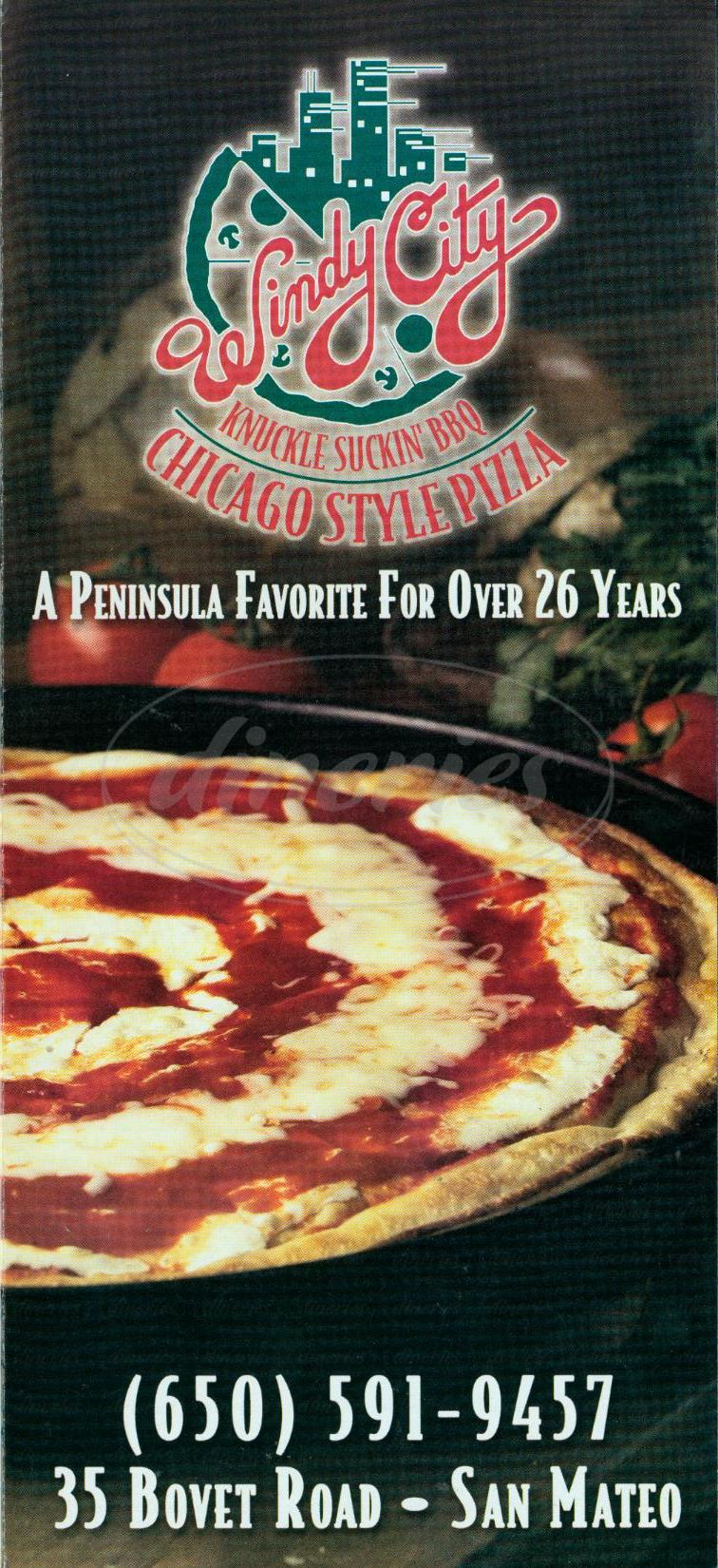 menu for Windy City Pizza