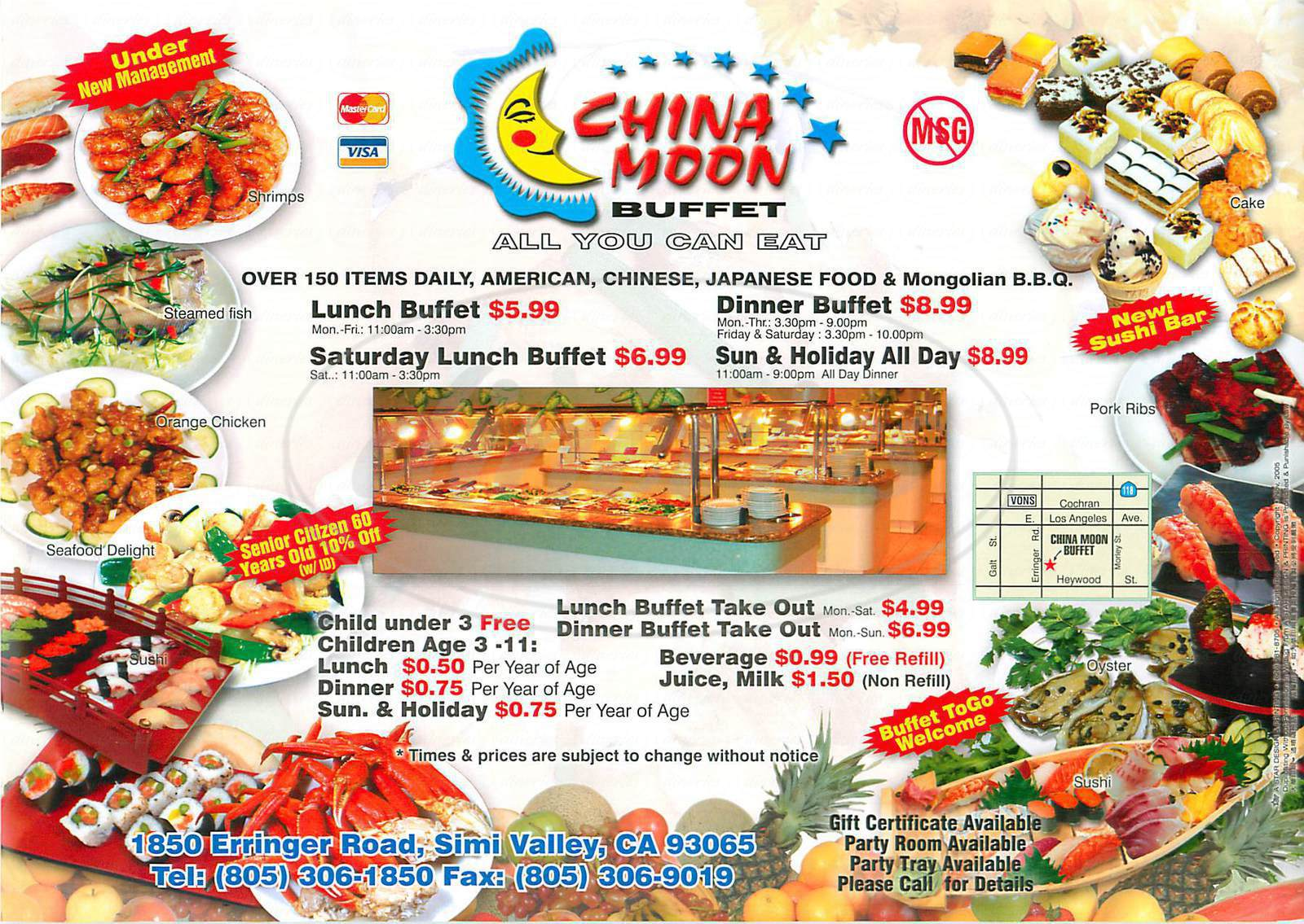 menu for China Moon Buffet