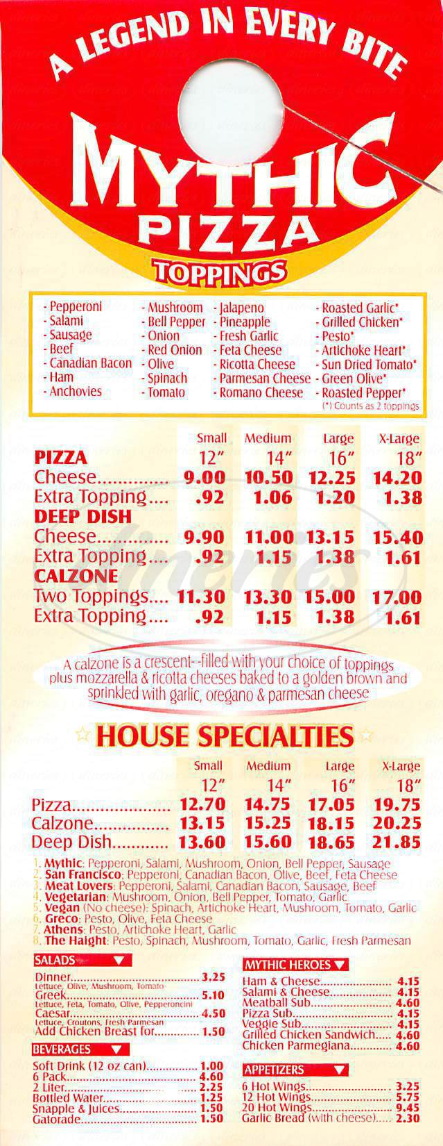 menu for Mythic Pizza